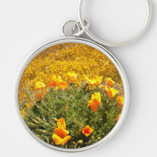 California Poppies Silver-Colored Round Keychain