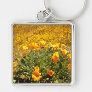 California Poppies Silver-Colored Square Keychain