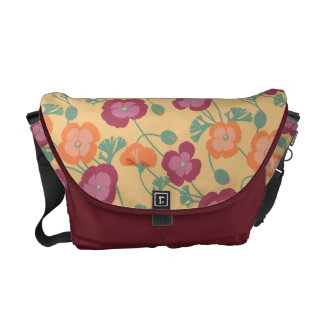 California Poppies Warm Colors Floral Pattern Messenger Bags