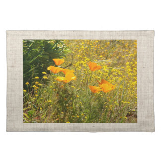 California Poppies Wildflowers Placemat Cloth Place Mat