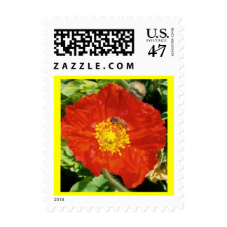California Poppy and Bee Postage