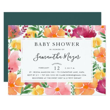 USA Themed California Poppy Baby Shower Invitation