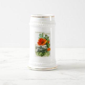 California Poppy Beer Stein