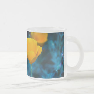 California Poppy Dreams Frosted Glass Coffee Mug