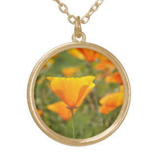 California Poppy Field Gold Plated Necklace