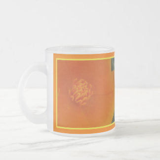 California Poppy Flower Frosted Glass Coffee Mug