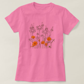 California Poppy Flower Wildflower Sketch T-Shirt