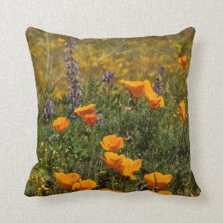California Poppy Flowers Wildflowers Floral Meadow Throw Pillow