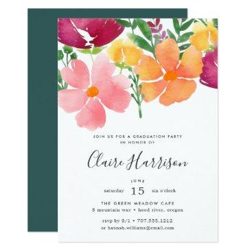 USA Themed California Poppy Graduation Party Invitation