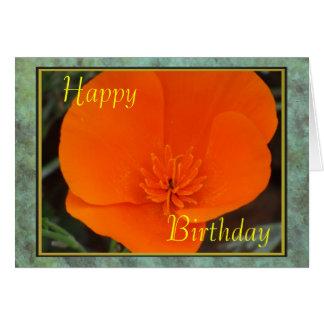 California Poppy Happy Birthday Card