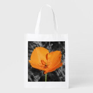 California Poppy Heart Reuseable Bag Market Totes