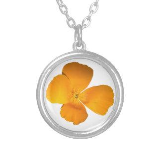 California Poppy Round Pendant Necklace