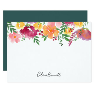 California Poppy Personalized Stationery Flat Card