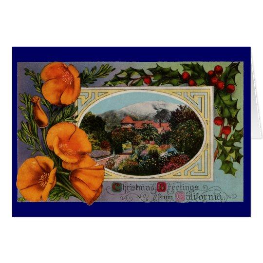 California Poppy Vintage Christmas Card