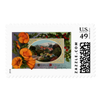 California Poppy Vintage Christmas Stamps