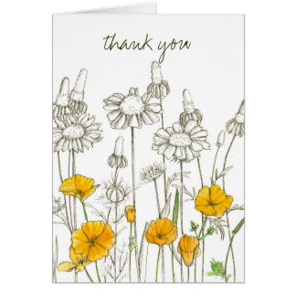 California Poppy Watercolor Flowers Thank You Card