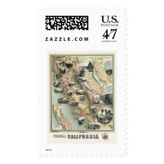 California Products Map 1888 Postage