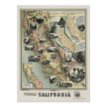 California Products Map 1888 Poster