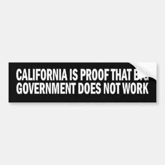California Proof Big Govt Doesnt Work Sticker Car Bumper Sticker