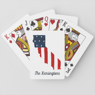 California Proud USA Bold Watercolor American Flag Playing Cards