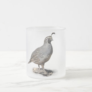 CALIFORNIA QUAIL 2 FROSTED GLASS COFFEE MUG