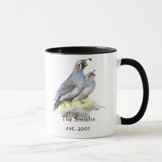 California Quail Birds Custom Date Monogram Family Mug
