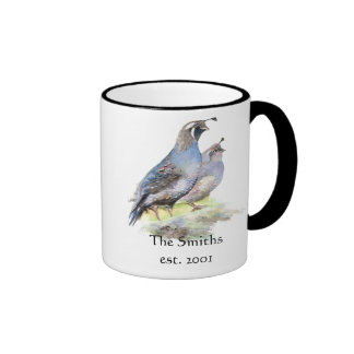 California Quail Birds Custom Date Monogram Family Ringer Coffee Mug