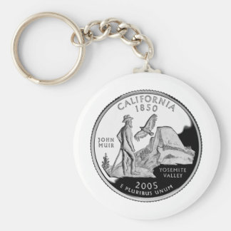 California Quarter Basic Round Button Keychain