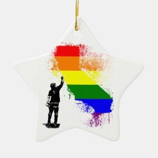 California Rainbow Ceramic Ornament