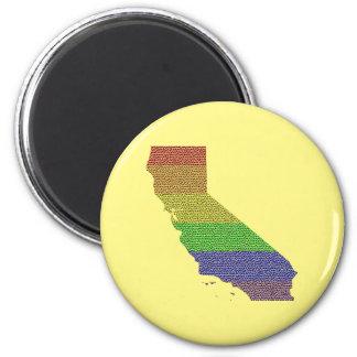 California Rainbow Pride Flag Mosaic 2 Inch Round Magnet