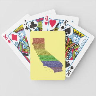California Rainbow Pride Flag Mosaic Bicycle Playing Cards