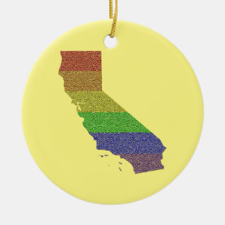 California Rainbow Pride Flag Mosaic Ceramic Ornament