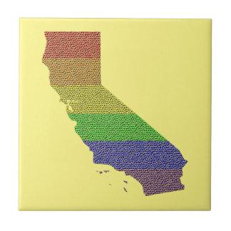 California Rainbow Pride Flag Mosaic Ceramic Tile