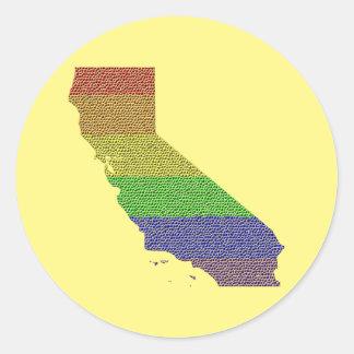 California Rainbow Pride Flag Mosaic Classic Round Sticker