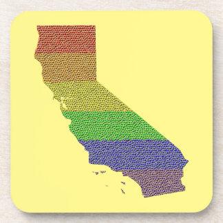California Rainbow Pride Flag Mosaic Drink Coaster
