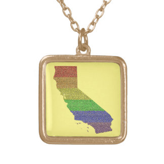 California Rainbow Pride Flag Mosaic Gold Plated Necklace