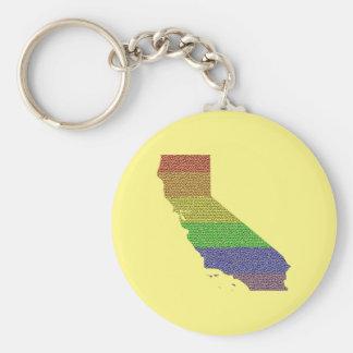 California Rainbow Pride Flag Mosaic Keychain