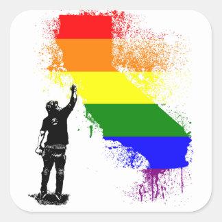 California Rainbow Square Sticker