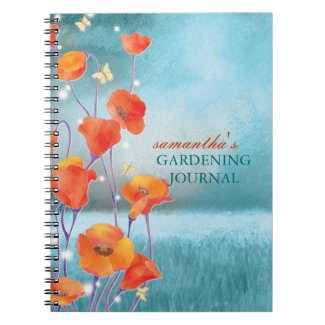 California Red Poppy Gardening Journal Notebooks notebook