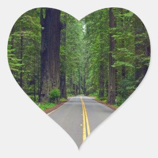 California redwood forest highway image heart sticker