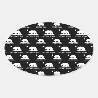 California Republic 1 Black and White Oval Sticker