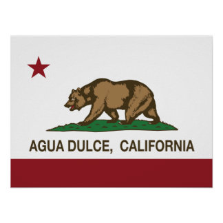 California Republic Agua Dulce Flag Poster