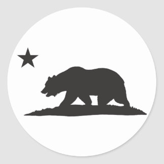 California Republic Bear - Black Classic Round Sticker