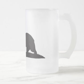 California Republic Bear - Black Frosted Glass Beer Mug