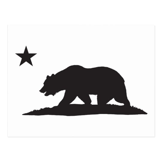 California Republic Bear - Black Postcard