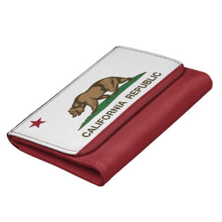 California Republic Bear Flag Leather Wallet For Women