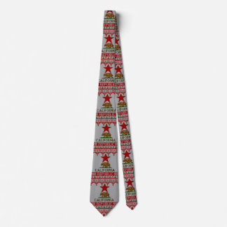 California Republic Bear on Christmas Ugly Sweater Neck Tie