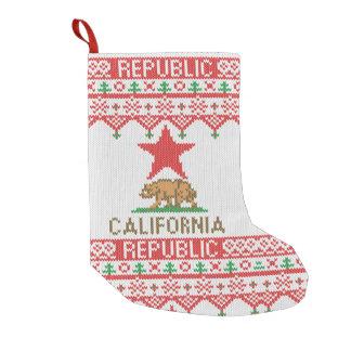 California Republic Bear on Christmas Ugly Sweater Small Christmas Stocking
