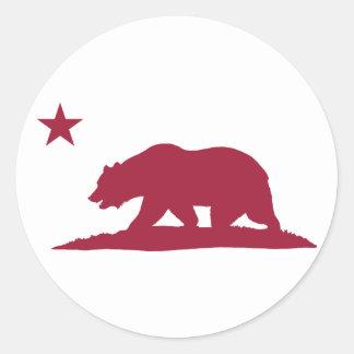 California Republic Bear - Red Classic Round Sticker