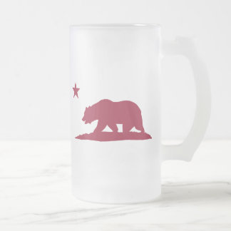 California Republic Bear - Red Frosted Glass Beer Mug
